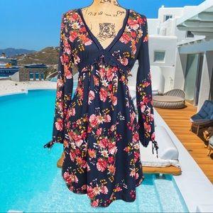 Floral long boho sleeve mini dress